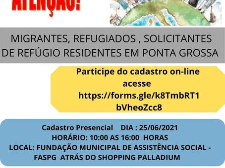 Ponta Grossa realiza cadastro de migrantes e refugiados da cidade