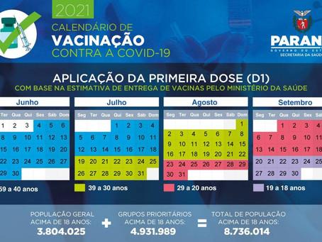 Covid-19: Paraná divulga cronograma de vacinação para pessoas acima de 18 anos