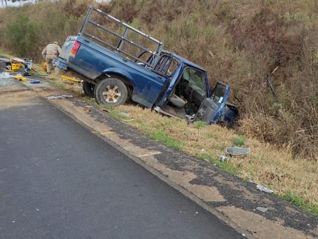 Acidente entre Ponta Grossa e Palmeira deixa duas pessoas em estado grave