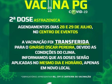 Covid-19: Prefeitura transfere aplicação da vacina do Centro de Eventos para o Oscar Pereira