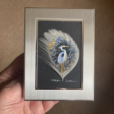 Grey Heron  Small painted feather Sold
