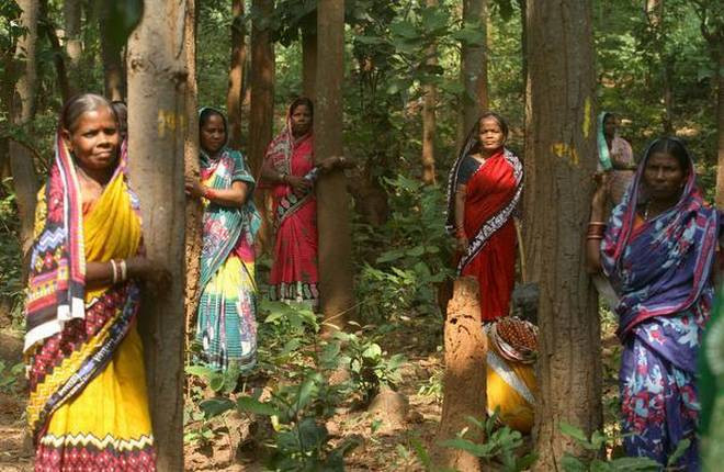 Mulheres do movimento Chipko. Fotografia de Biswaranjan Rout