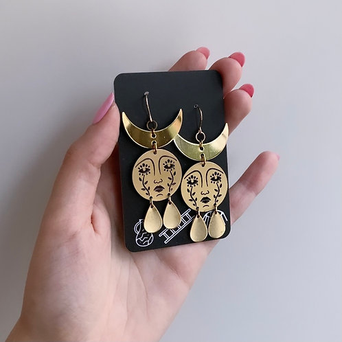 Horned Mother Moon Earrings