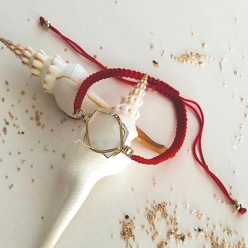 【ホワイトシーグラス】ナイロンコードブレスレット(Red)
