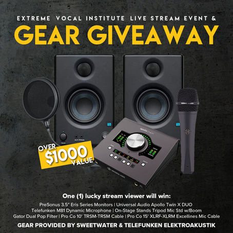 Gear giveaway details and live stream event