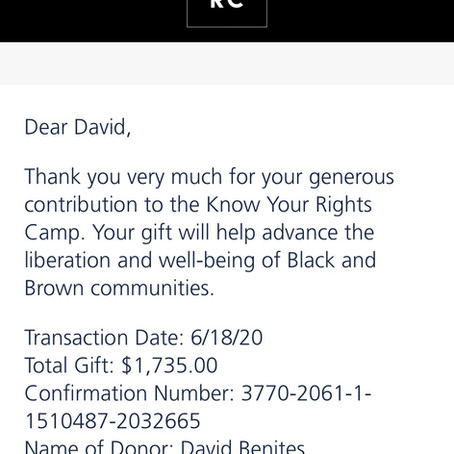 EVI Acts: EVI Now donation to Know Your Rights Camp