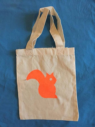 Squirrel totebag mini - fluo orange