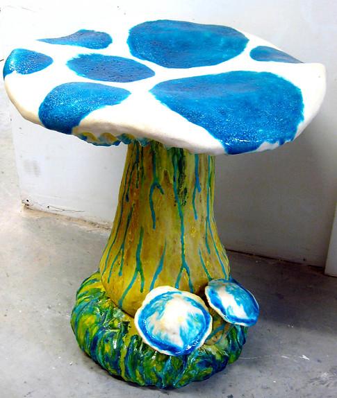 blue mushroom stool