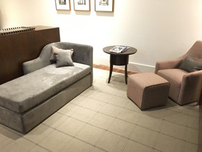 Custom hotel chaise and armchairs