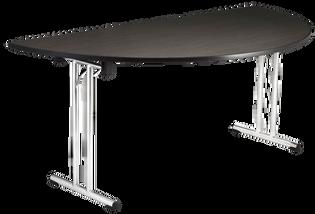 Half Round Table with Chrome Folding Legs