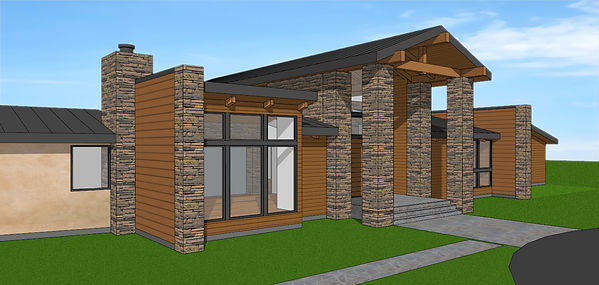 Front Facade showing 24x24 stone piers at ends of wood walls 03-28-21.jpg