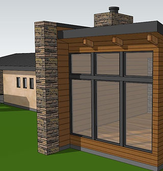 Front Facade showing 24x24 stone piers at Dining Room wall 03-28-21.JPG