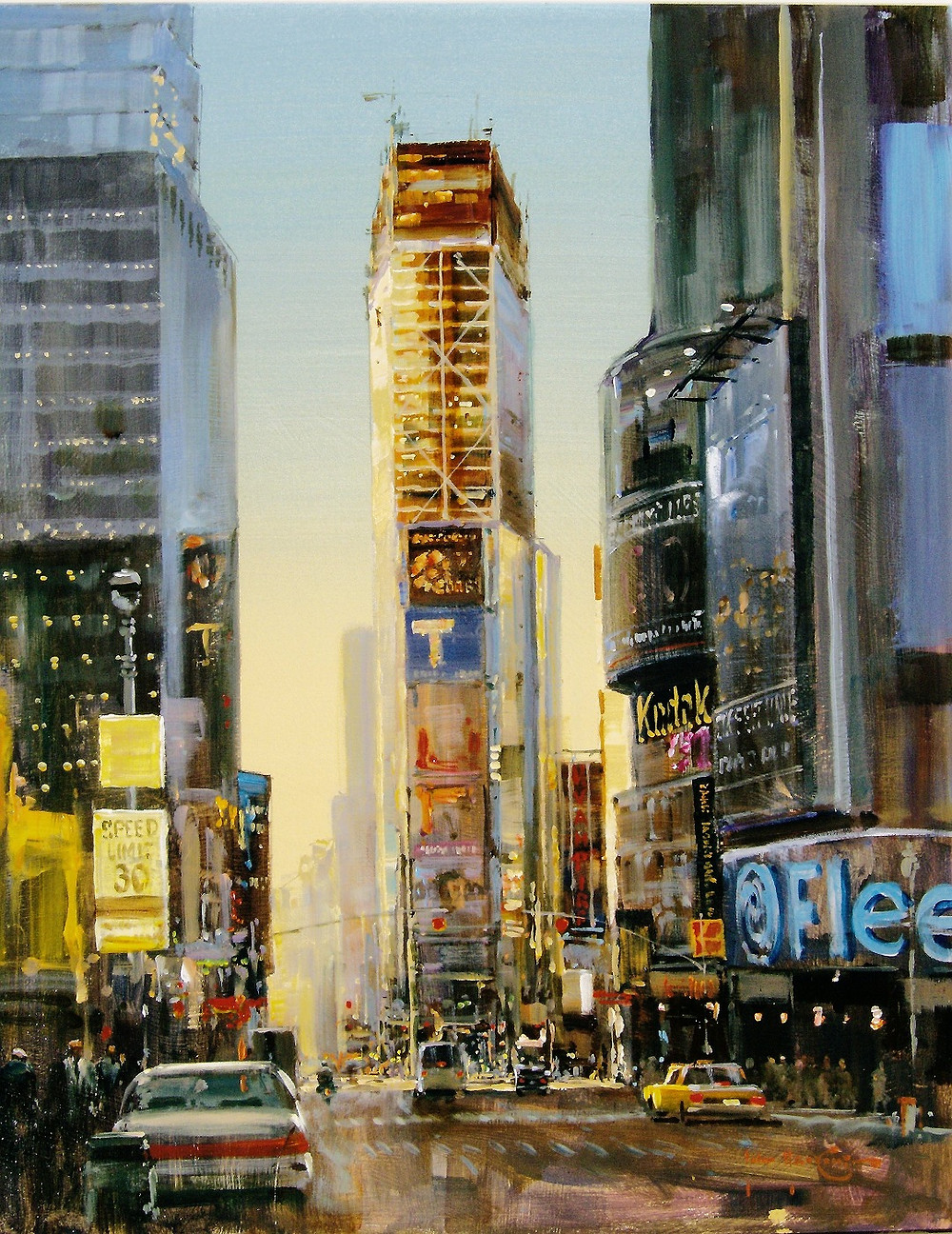 "Times Square Early evening 24""x24"""