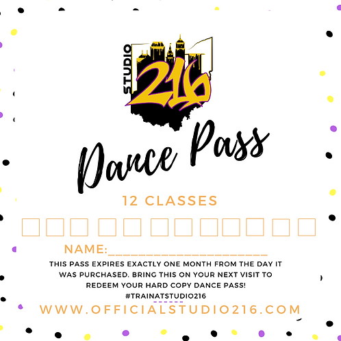 12 CLASSES - DANCE PASS