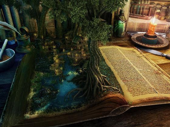 Из книги, которая лежит на столе, растет дерво
