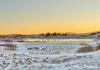 sunset at Thingvellir National Park, Iceland
