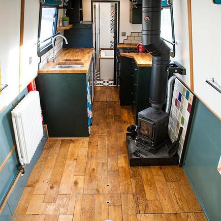 Inside a modern narrow boat