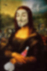 Corona lisa, funny Mona Lisa wearing a guy fawks, anonymous mask. 5G satilites spinning around her head, while drinking a 'corona' cola and holding an NHS face mask.