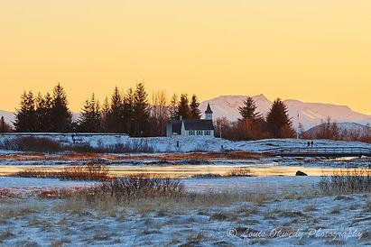 sun set at Thingvellir National Park, Iceland