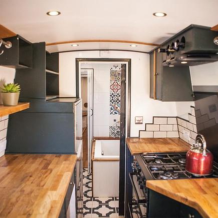 Narrow boat kitchen