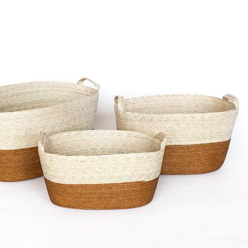 Canasta ovalada de piso - trigo