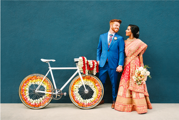 """Disney Artists' Vibrant Indian Fusion Wedding in LA""        Green Wedding Shoes Feature"