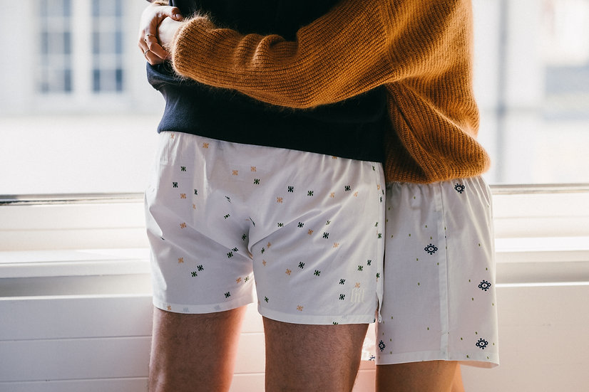 couple in kilim rug boxer shorts