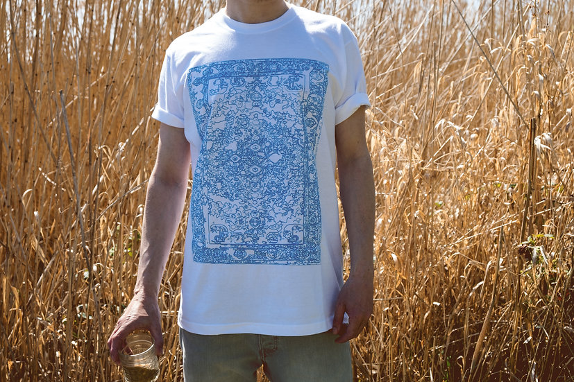 cyan blue oriental rug t-shirt front view with reed in background by l'n'l lnl-clothing.com