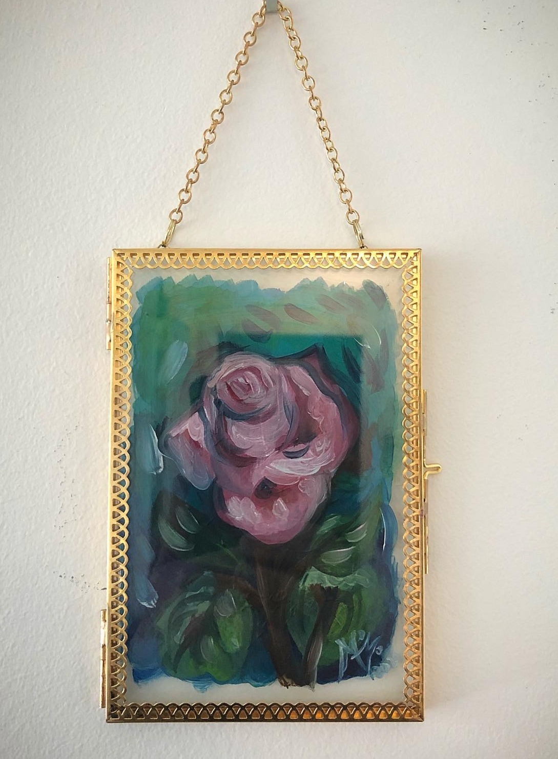 Rose/green/paint oil/glass