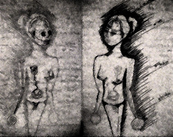 mujer y calavera.