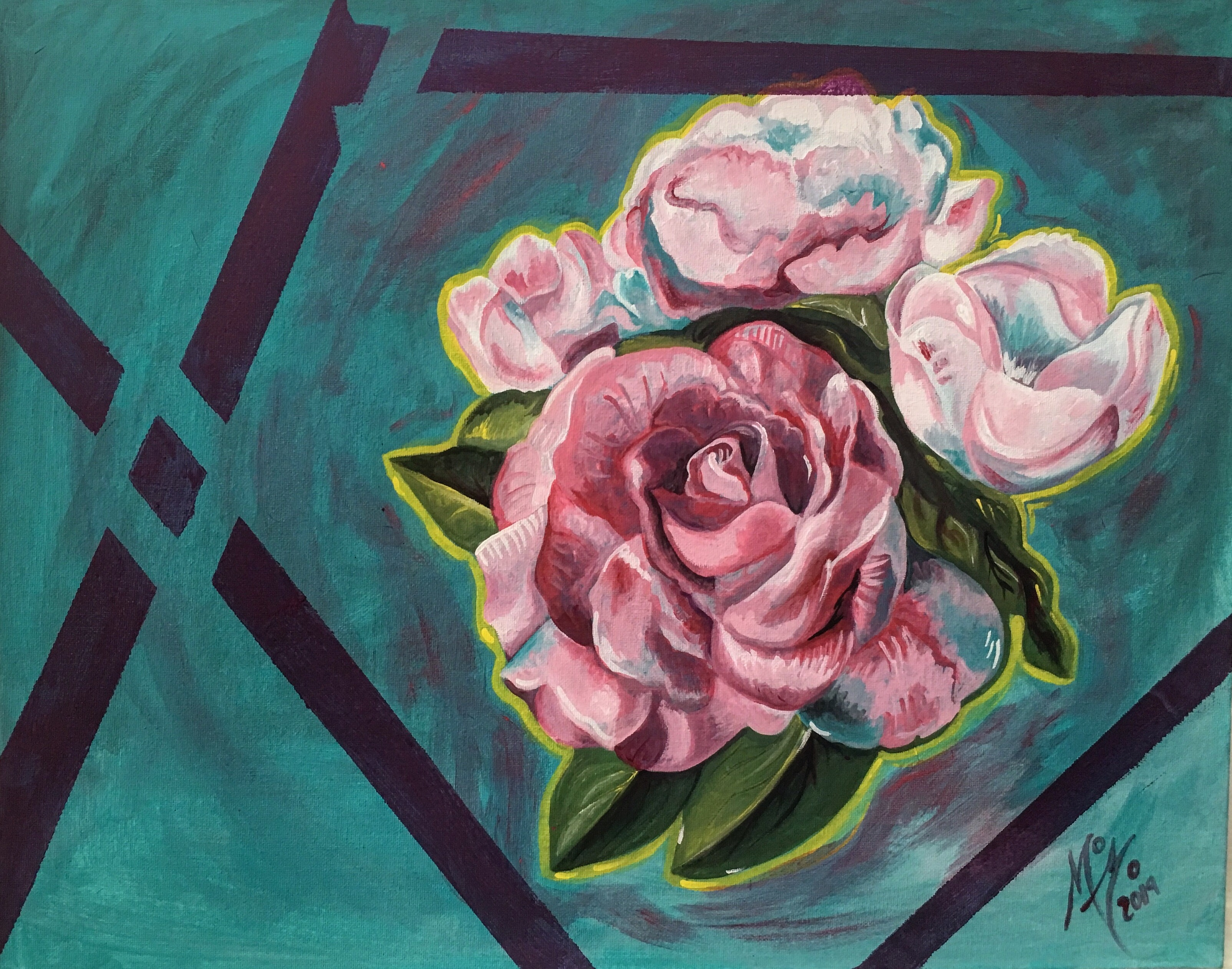 Roses in turquoise