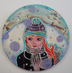 Girl on snowy background.