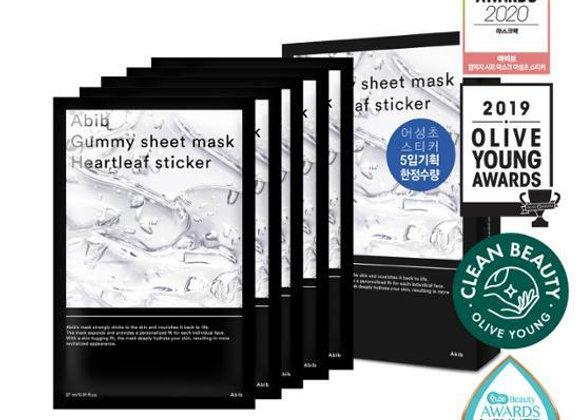 Abib Gummy sheet mask Heartleaf sticker 30ml x 5EA