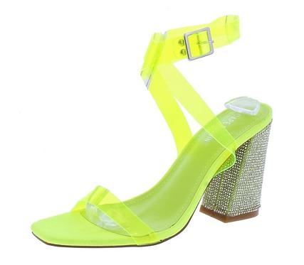 Open toe block heels