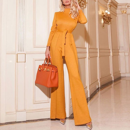 Fashion high neck long sleeved solid color jumpsuit