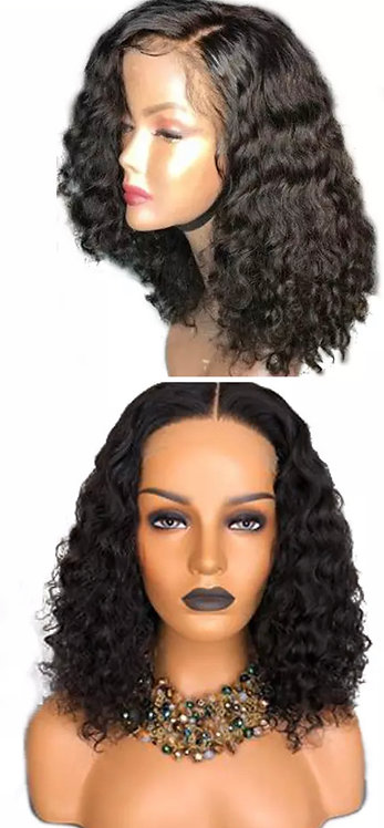 Short Curly Human Hair Wig Lace Frontal