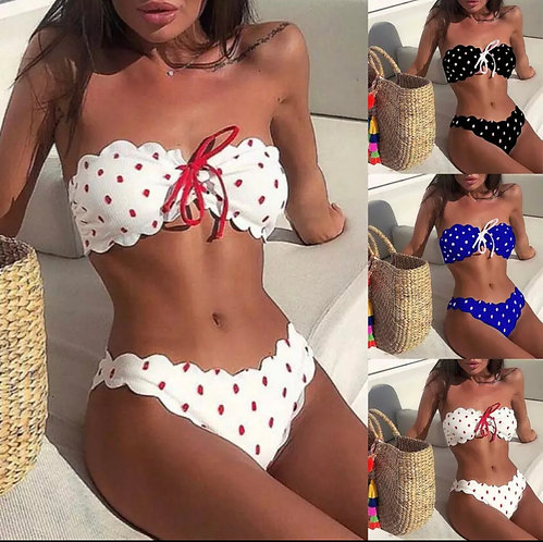 MNew bikini 2019 women's swimsuits Sexy Women Wave Point Push-Up Padded Br