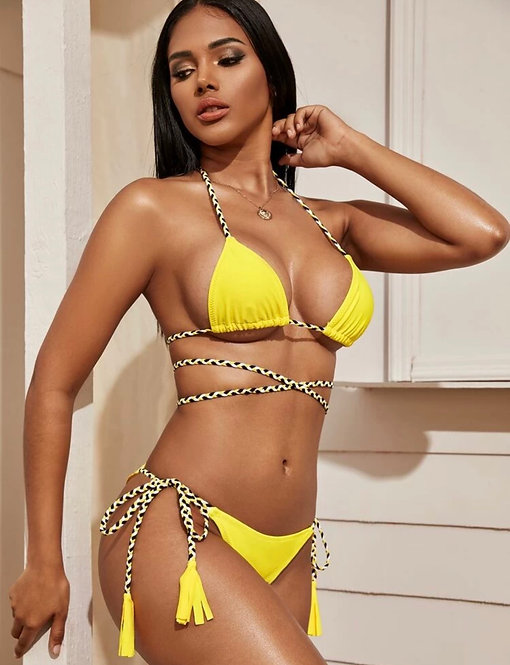 Decorated triangle top with tie side bikini