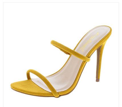 Mustard Dual Strap Open Toe Slide Stiletto Heel