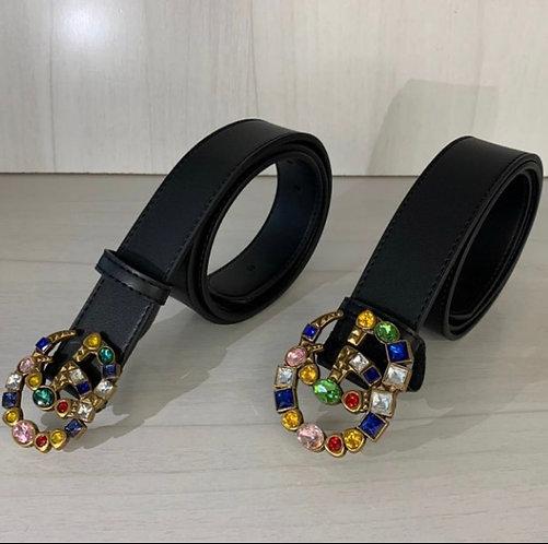Gucci GG large color diamond belt