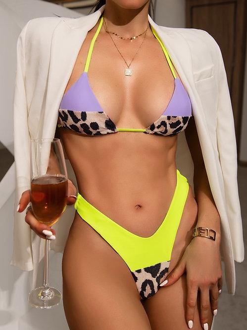 Micro triangle high cut bikini swimsuit