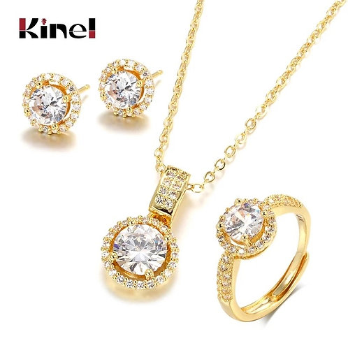 18K Gold Zircon Jewelry Sets Engagement Ring Necklace Earring for Bridal Wedding