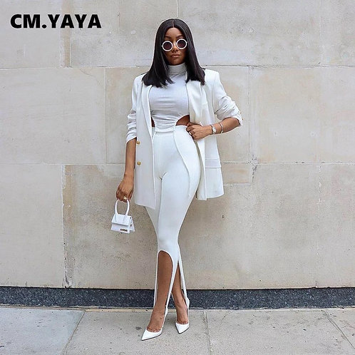 Women Knit Solid High Slit Legging Pants Streetwear Party High Waist Trousers