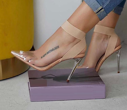 Concise PVC Women Sandals Transparent Clear Glass Thin High Heels Pointed Toe Sl