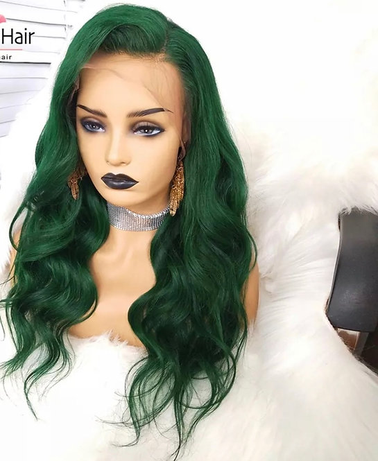 green Body Wave Wig With Baby Hair Preplucked Glueless