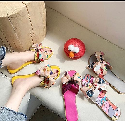2021 Summer Fashion Sandals Shoes Women Bow Summer Sandals Slipper Indoor Outdoo