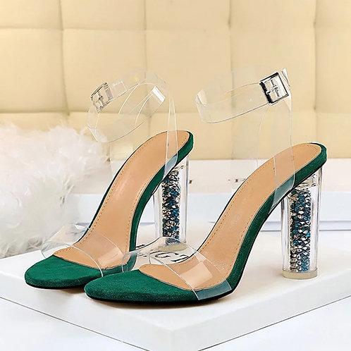Women Transparent High Heels Sandles Ladies Bling Ankle Buckle Strap PVC Summer
