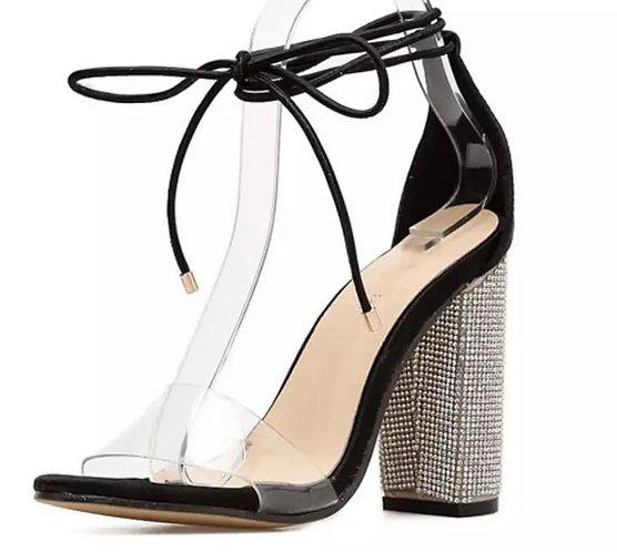 Women High Heels Sandals Summer Square Heels Crystal
