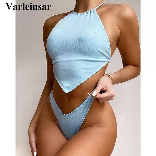 High Neck Cross Back High Cut Ribbed Bikini Women Swimwear Female Swimsuit Two-p