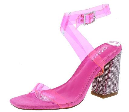 Sane Pink Lucite Open Toe Ankle Strap Rhinestone Heel
